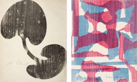 Incisione Su Legno Arp - Siamesisches Blatt : ONZE PEINTRES VUS PAR ARP. 1949. Deluxe.