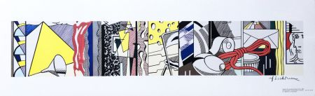 Litografia Lichtenstein - Sketch for Greene Street Mural (Hand Signed)