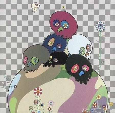 Litografia Murakami - Skulls rock