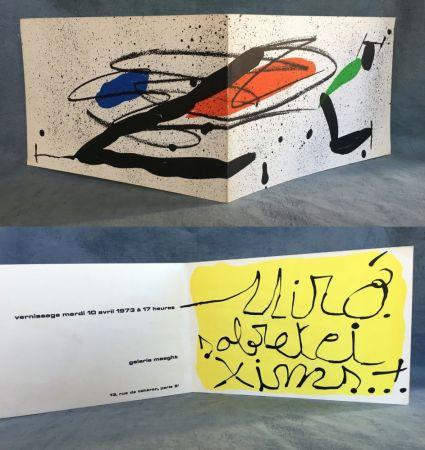 Litografia Miró - SOBRETEIXIMS…Carton d'invitation pour une exposition Miró à la Galerie Maeght. 1973.