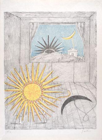 Litografia De Chirico - Sole e luna in una stanza