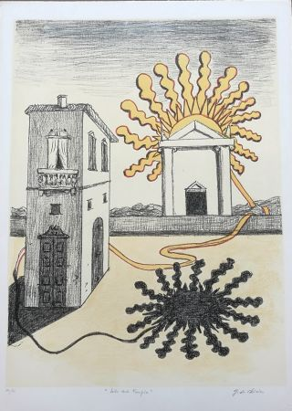 Litografia De Chirico - Sole sul tempio