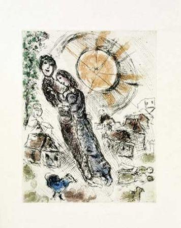 Incisione Chagall - Soleil aux amoureux