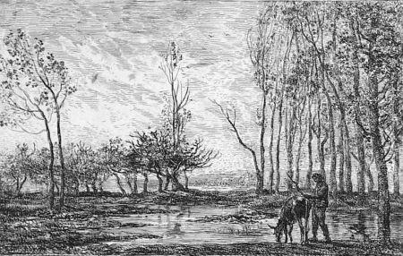 Acquaforte Daubigny - Soleil couchant