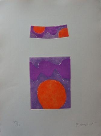 Acquaforte E Acquatinta Manessier - Soleils Oranges