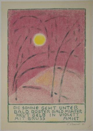 Litografia Amiet - Sonnenuntergang