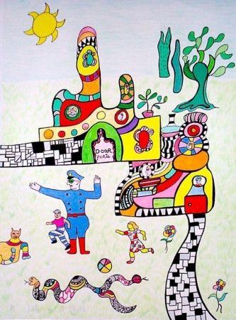 Litografia De Saint Phalle - Sortie d'école