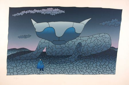Serigrafia Folon - Souvenir d'Alice