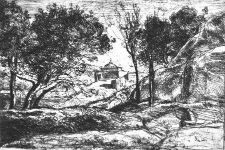 Acquaforte Corot - Souvenir de Toscane