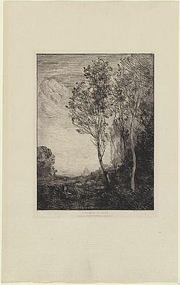 Incisione Corot - Souvenir d'Italie, in