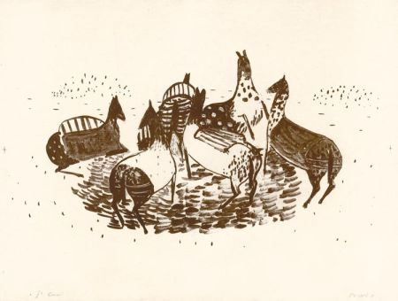Litografia Music - Spielende Pferde