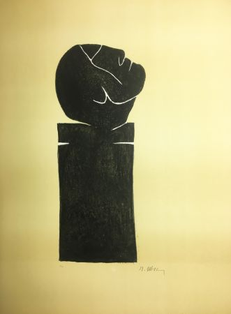 Litografia Ubac - STÈLE TÊTE LEVÉE . Lithograpie originale signée au crayon (1982).