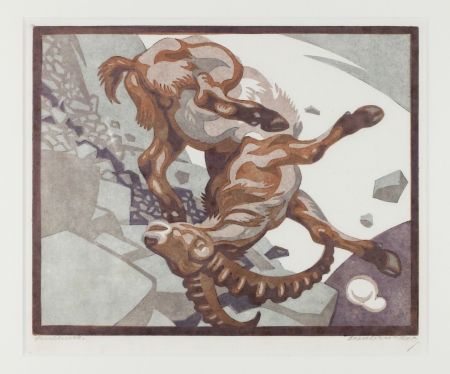 Linoincisione Bresslern-Roth - Stürzender Steinbock (Falling Ibex)