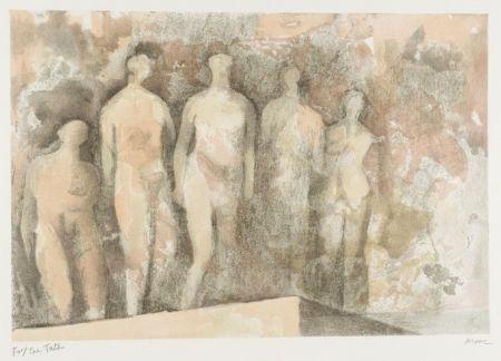 Litografia Moore - Standing Nudes