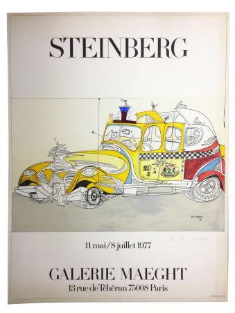 Litografia Steinberg - STEINBERG 1977. TAXI. Galerie Maeght. Épreuve de luxe signée.