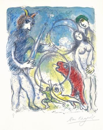 Litografia Chagall - Sur la Terre des Dieux (In the Land of the Gods): Anacreon
