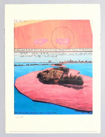 Litografia Christo - Surrounded islands, project for Biscane Bay