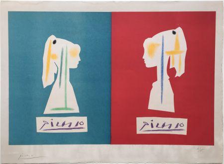 Litografia Picasso - SYLVETTE DE PROFIL. Une des rarissimes épreuves signées par Picasso (1954).