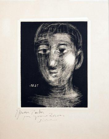 Linoincisione Picasso - TÊTE DE GARCON (III). Linogravure. 1962.