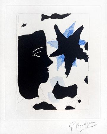 Acquaforte E Acquatinta Braque - Téte En Profil E L'Étoile (Head In Profile And Star) From Georges Braque – Nouvelles Sculptures Et Plaque Graveés, 1960