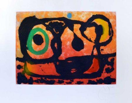 Incisione Miró - Tête au soleil couchant