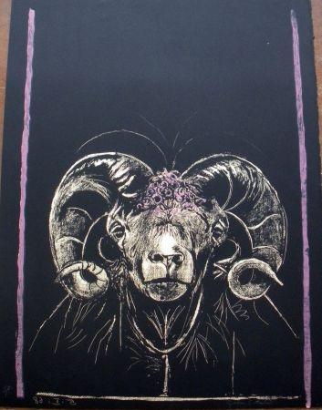 Litografia Sutherland - Tête de bèllier (de face)