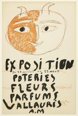 Litografia Picasso - Tête de Faune (Exposition Poteries Fleurs Parfums Vallauris A.M)