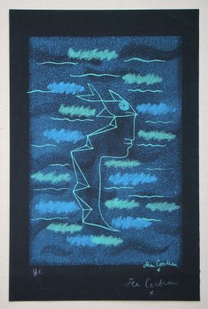 Litografia Cocteau - Tête d'homme aux yeux poisson