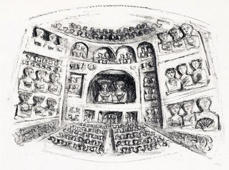 Litografia Campigli - Teatro