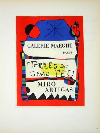 Litografia Miró - Terre de Grand Feu  Galerie Maeght 1955