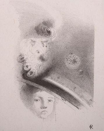 Litografia Redon - Tete d'enfant, de face....