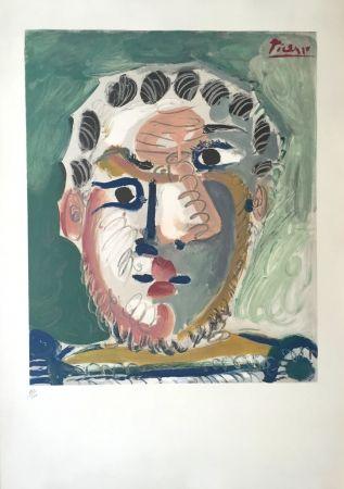 Litografia Picasso - Tete D'homme Bardu