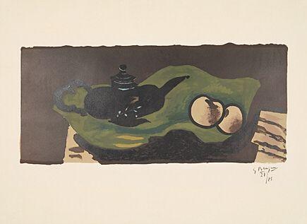 Litografia Braque - Théière et pommes (Teekanne und Äpfel)