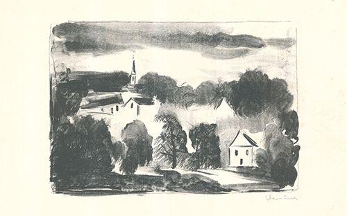 Litografia Vlaminck - Théméricourt le clocher dans les arbres