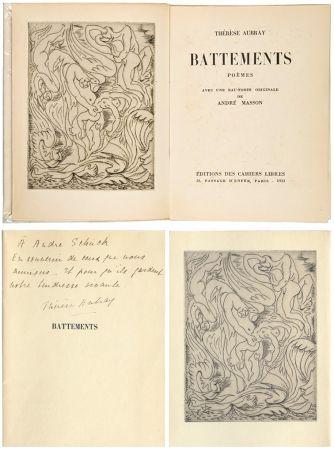 Libro Illustrato Masson - Thérèse Aubray : BATTEMENTS. 1/35 avec la gravure d'André Masson (Paris, 1933).