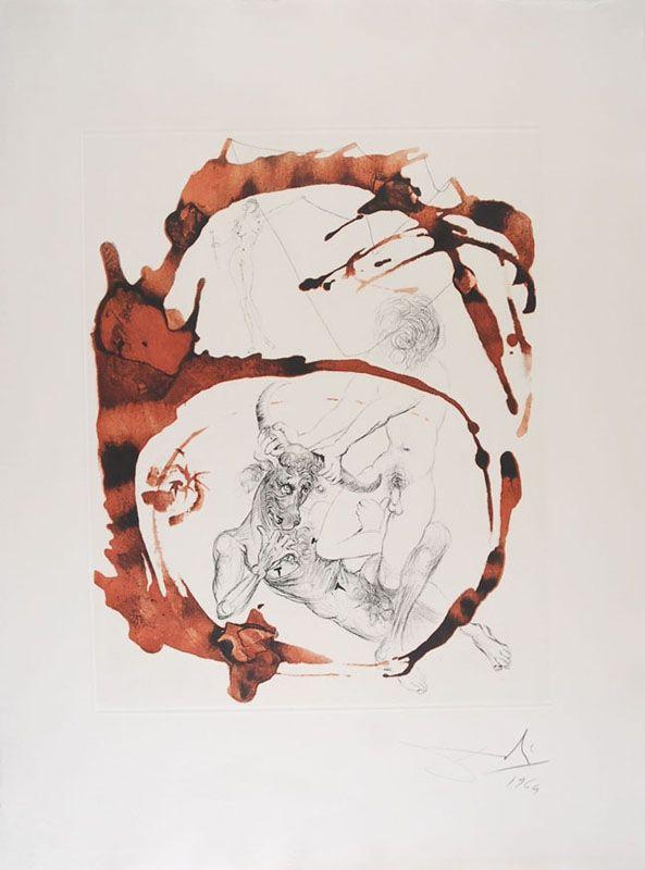 Acquaforte E Acquatinta Dali - Thésée et le Minotaure - Theseus and the Minotaur (suite Mythologie/The Mythology)