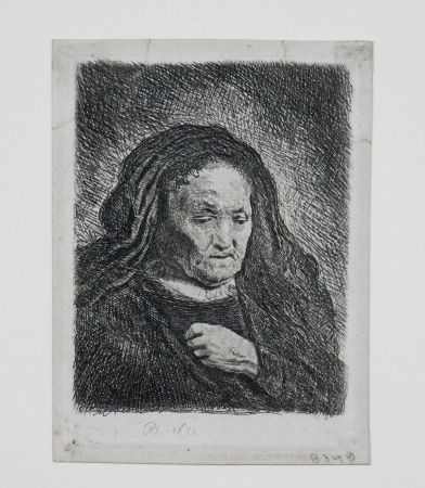 Incisione Rembrandt - The artist's mother with her hand on her chest