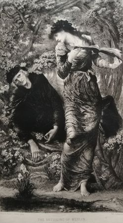 Acquaforte Burne-Jones - The Beguiling of Merlin