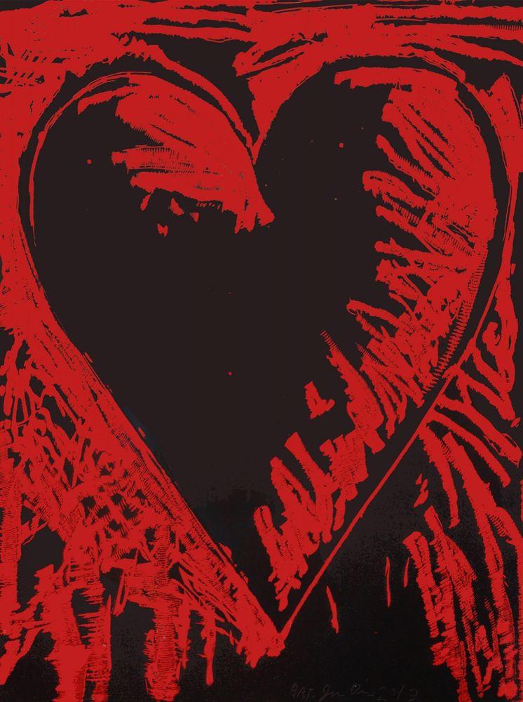 Incisione Su Legno Dine - The Black and Red Heart