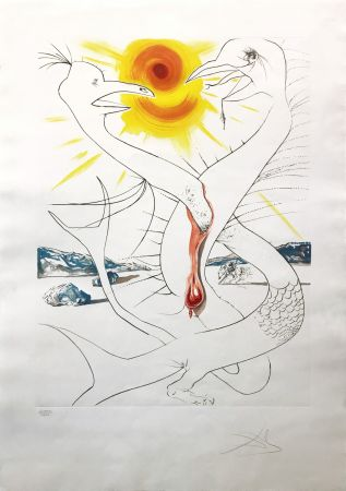 Acquaforte Dali - THE CADUSEUS OF MARS NOURISHED BY THE BALL OF FIRE OF JUPITER