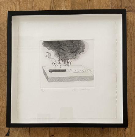 Acquaforte E Acquatinta Hockney - The Carpenter's Bench, a Knife and Fire (