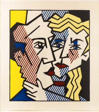 Incisione Su Legno Lichtenstein - The Couple, From The Expressionist Woodcut Series