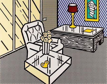 Incisione Su Legno Lichtenstein - The Den, from Interior Series