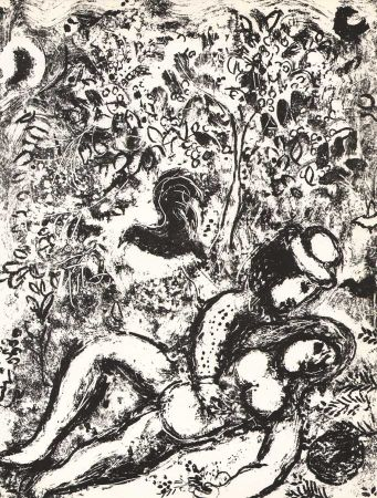 Litografia Chagall - The Pair in a tree