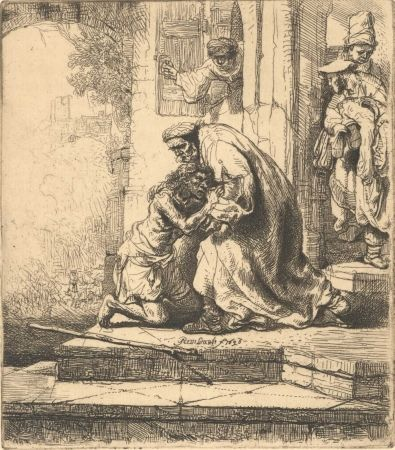 Incisione Rembrandt - The Return of the Prodigal Son