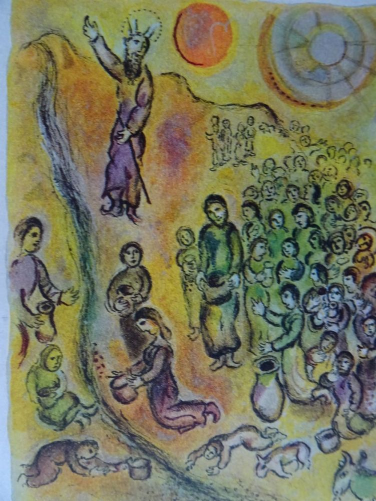 Litografia Chagall - The Story of the Exodus, plate 12: Et tu touchera le Rocher..