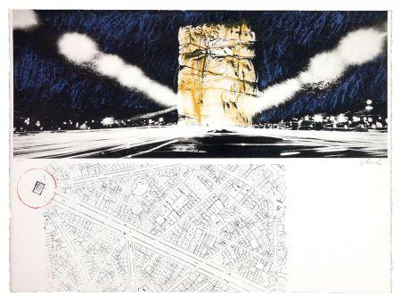 Litografia Christo - The wrapping of l'Arc de Triumph (l'empaquement de l'Arc de Triomphe)