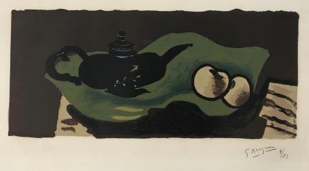 Litografia Braque - Theiere et Pommes
