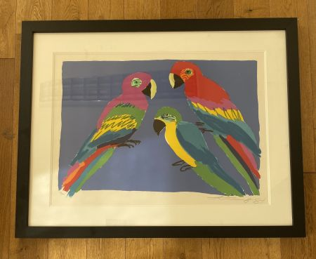 Linoincisione Ting - Three Parrots