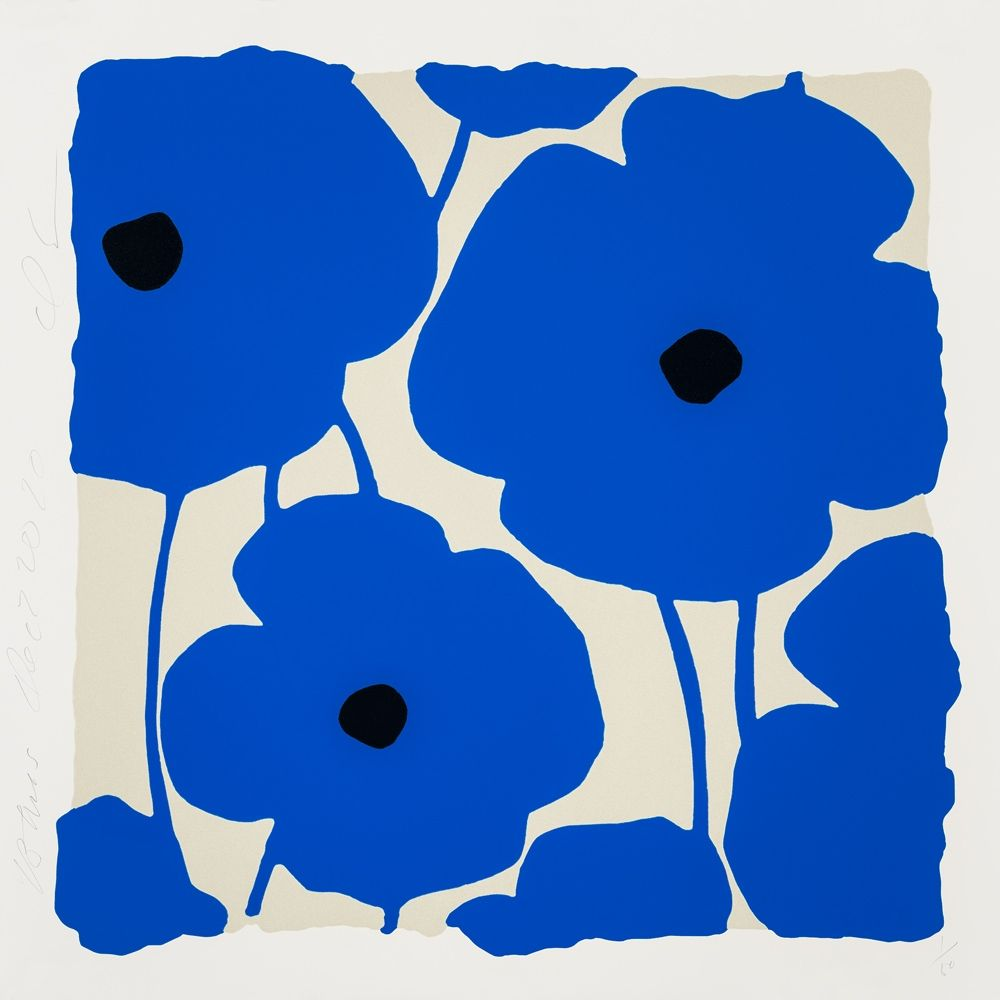 Serigrafia Sultan - Three Poppies (Blue)